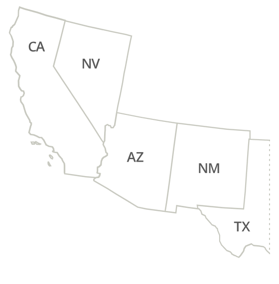 California, Arizona, Nevada