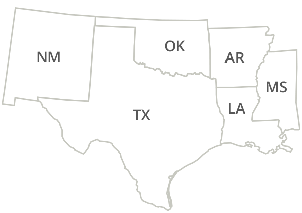 Texas, Louisiana, Arkansas, Oklahoma, Mississippi, New Mexico