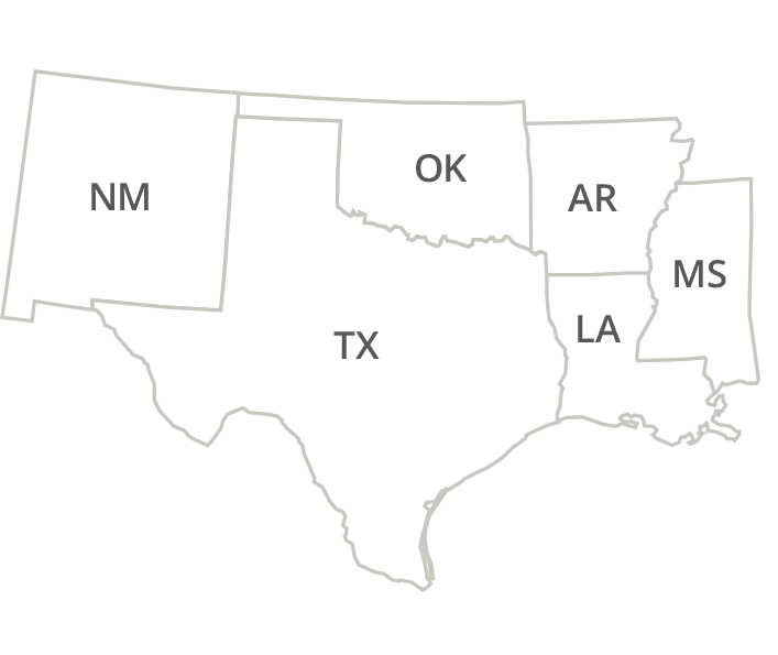 Texas, Louisiana, Arkansas, Oklahoma, Mississippi & New Mexico