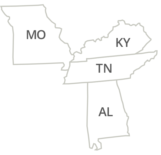 Tennessee, Alabama, Kentucky, Missouri