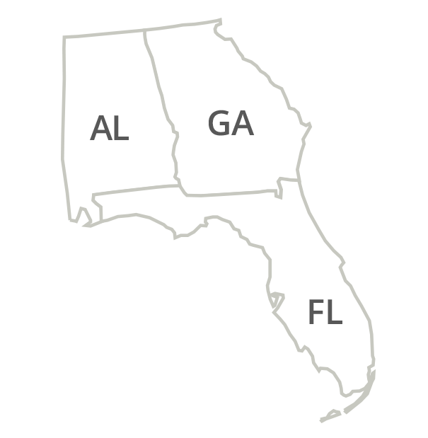 Florida, Alabama, Georgia