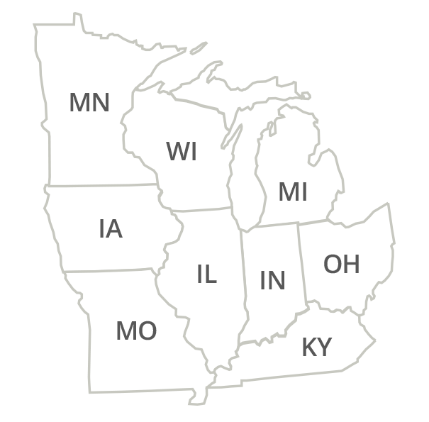 Indiana, Illinois, Michigan, Ohio, Kentucky, Minnesota, Iowa, Missouri, Wisconsin