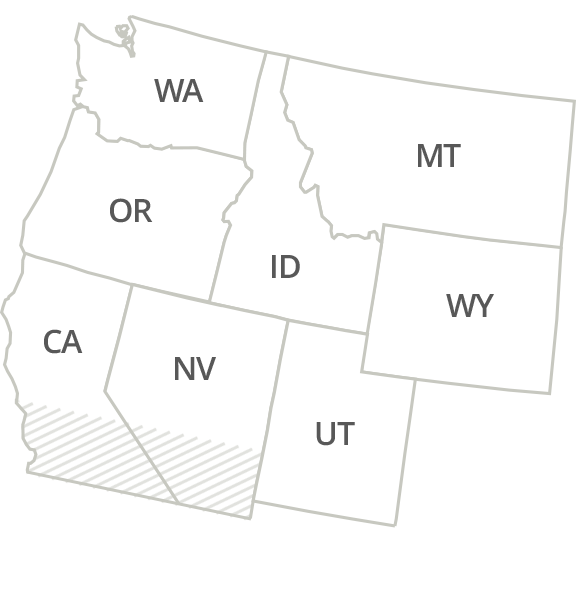 Idaho, Washington, Oregon, Montana, Wyoming, North California, North Nevada & North Utah