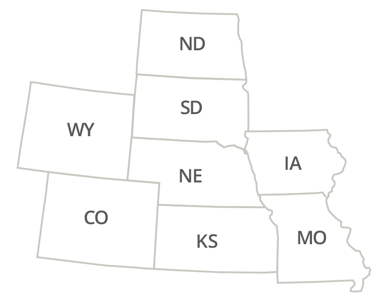 Nebraska, Colorado, Kansas, North Dakota, South Dakota, Wyoming, Iowa, Missouri