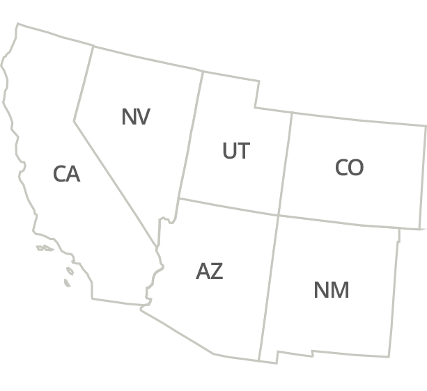 Arizona, California, Nevada, New Mexico, Colorado, Utah