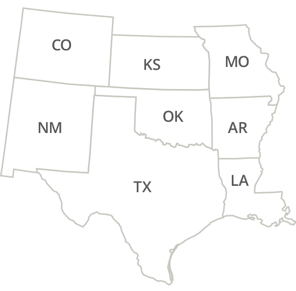 Texas, Louisiana, Arkansas, Oklahoma, New Mexico, Colorado, Kansas, Missouri