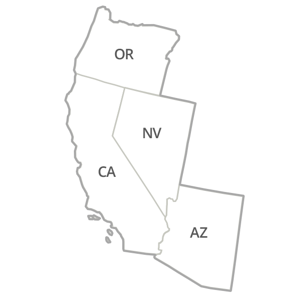 California, Arizona, Nevada, Oregon