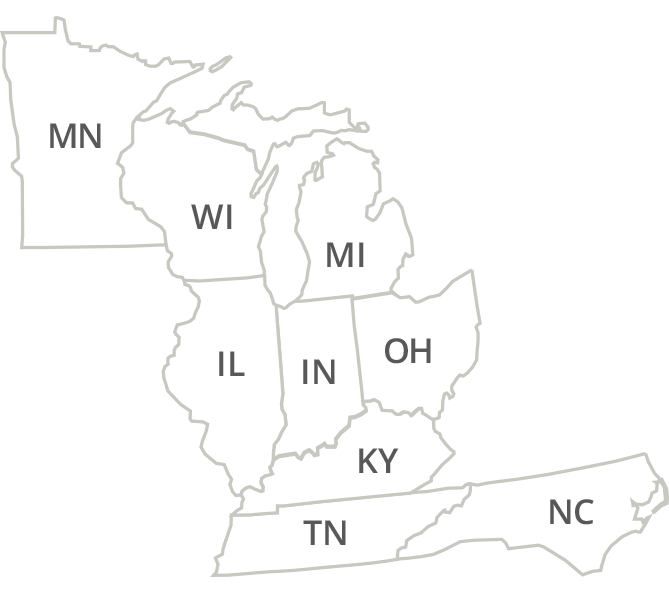 Indiana, Michigan, Ohio, Illinois, Wisconsin, Minnesota, Kentucky, Tennessee, North Carolina