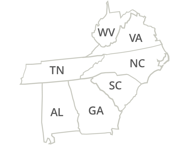 Virginia, Tennessee, North Carolina, South Carolina, Georgia, Alabama
