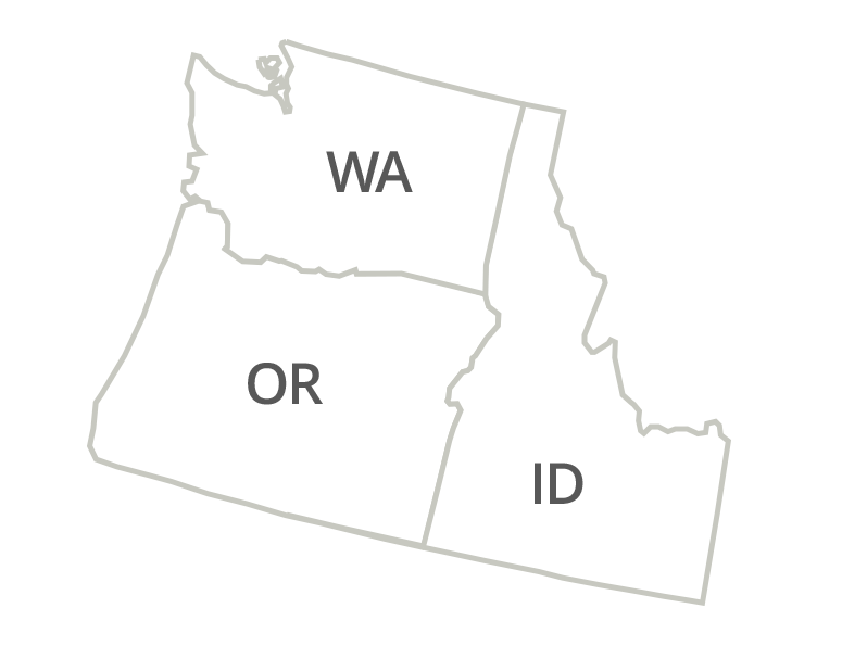 Oregon, Washington and Idaho