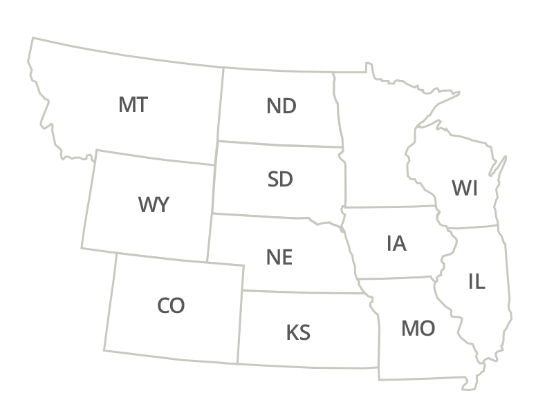 Nebraska, Colorado, Kansas, South Dakota, North Dakota, Wyoming, Iowa, Minnesota, Missouri, Montana, Wisconsin, Illinois