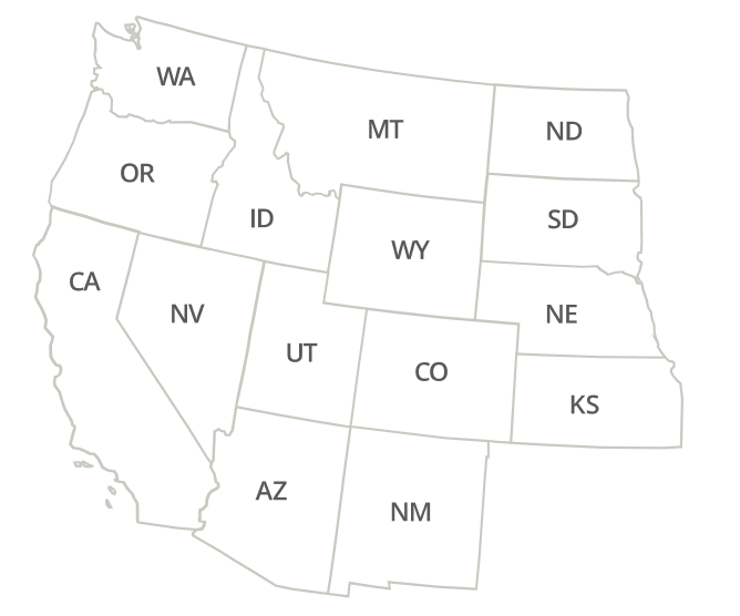 California, Arizona, Nevada, New Mexico, Colorado, Utah
